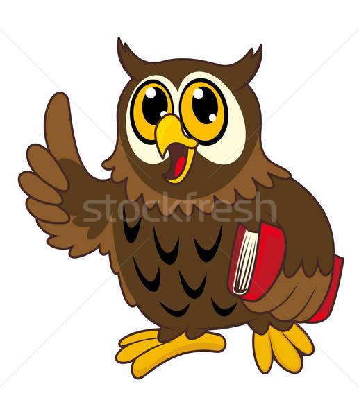 Cartoon gufo uccello libro abstract piuma Foto d'archivio © anbuch