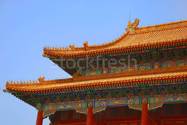 Oude tempel dak keizer verboden stad gebouw Stockfoto © anbuch