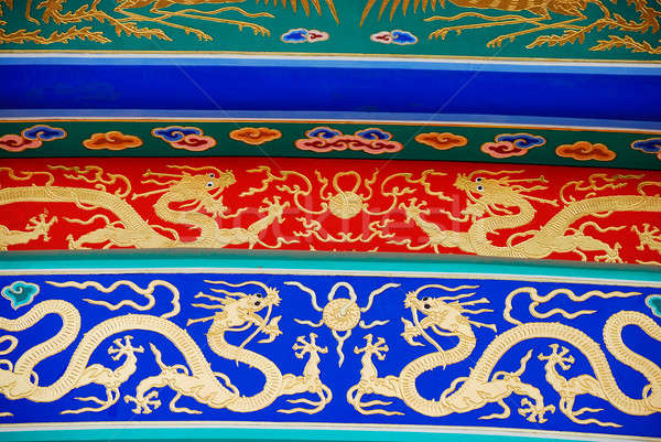 Elementos chinês telhado colorido templo projeto Foto stock © anbuch