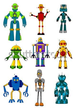 ロボット セット 漫画 スタイル 孤立した 白 ストックフォト © anbuch