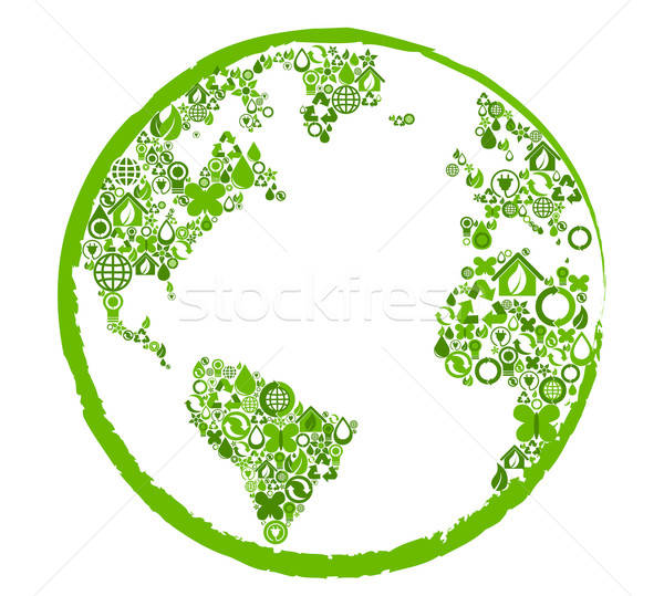 Green earth with ecological symbols Stock photo © anbuch