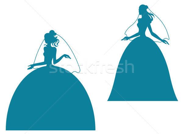 молодые невеста силуэта подвенечное платье девушки свадьба Сток-фото © anbuch