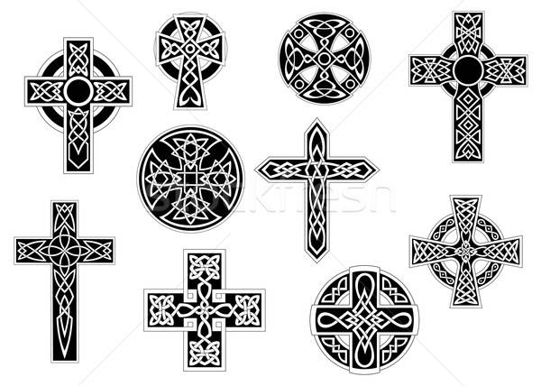 Zwart wit decoratief celtic kruisen ingesteld vintage Stockfoto © anbuch