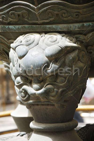 Kő oroszlán tiltott város kicsi templom ázsiai Stock fotó © anbuch