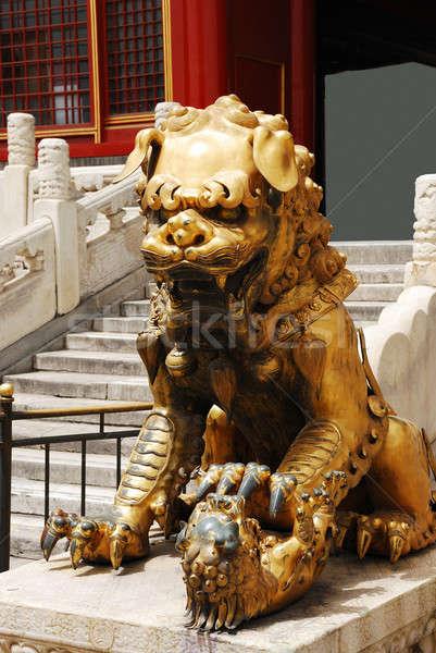 Сток-фото: бронзовый · лев · Запретный · город · вход · император · храма