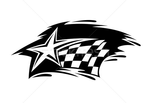 Racing icon with flag and star Stock photo © anbuch