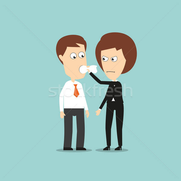 Stock photo: Business woman put a cloth gag in colleagues mouth