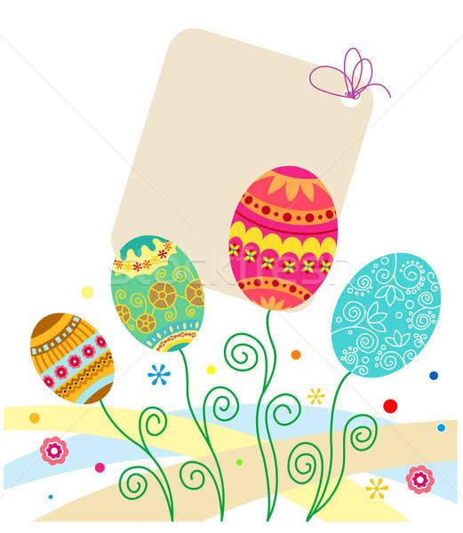 Paskalya yumurtası tatil kartları dizayn Paskalya bahar Stok fotoğraf © anbuch