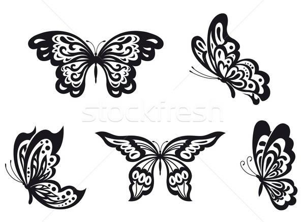 бабочки набор черный бабочка изолированный белый Сток-фото © anbuch