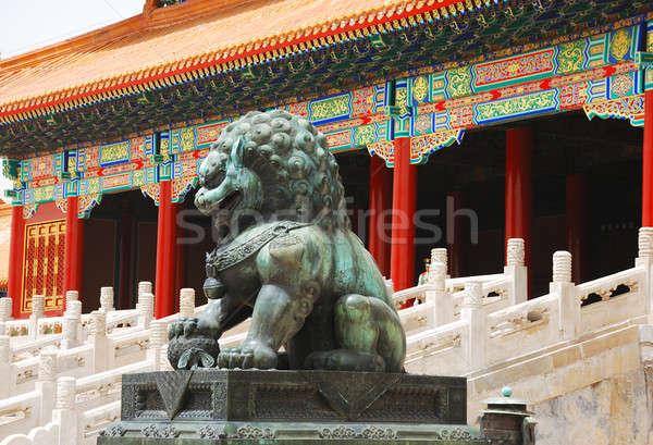 Bronzen leeuw verboden stad entree keizer tempel Stockfoto © anbuch