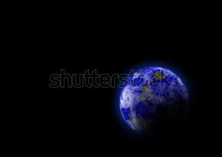 Mavi gezegen siyah boya soyut doğa Stok fotoğraf © anbuch