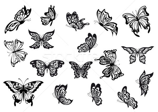 Set of black and white vector butterflies Stock photo © anbuch