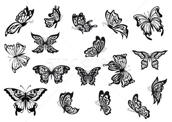 Conjunto preto e branco vetor borboletas rabisco esboço Foto stock © anbuch