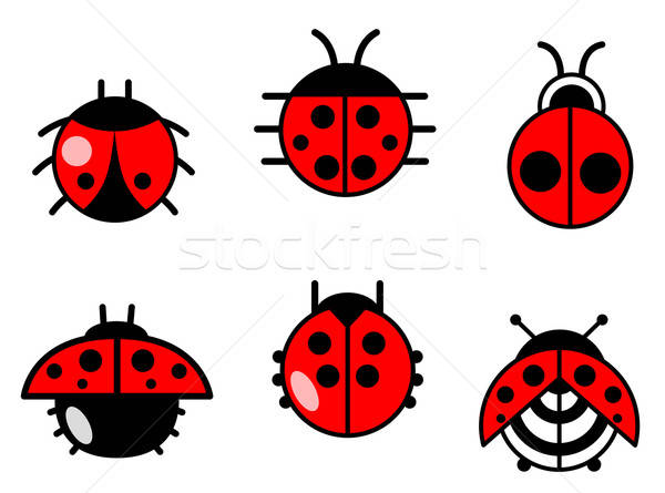 Ladybugs and beetles icons set Stock photo © anbuch