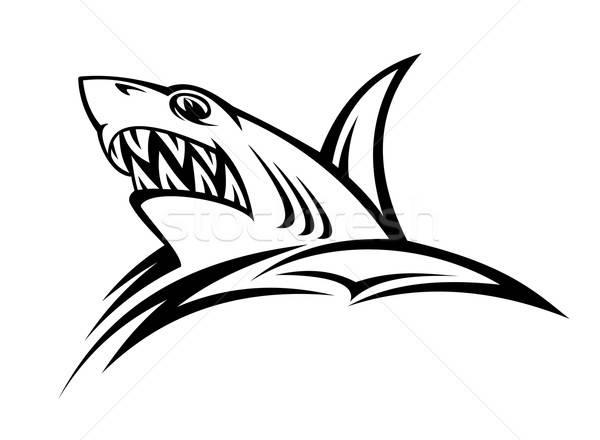 Tehlike köpekbalığı dövme kabile stil balık Stok fotoğraf © anbuch