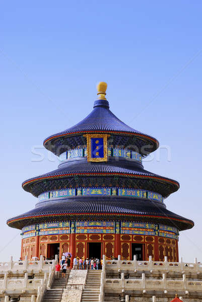 Templo céu turistas Pequim céu arte Foto stock © anbuch