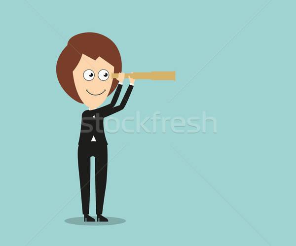 деловой женщины Vintage глядя цель Cartoon женщину Сток-фото © anbuch