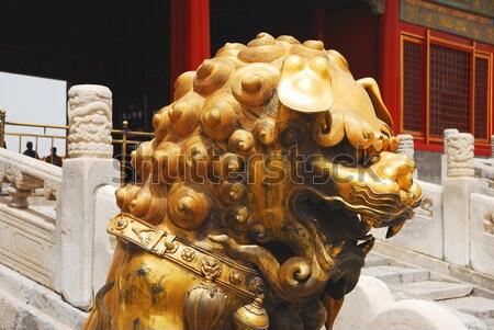 Hoofd goud leeuw entree tempel verboden stad Stockfoto © anbuch
