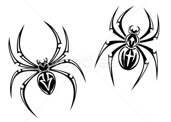 Gevaar spinnen zwarte geïsoleerd witte tattoo Stockfoto © anbuch