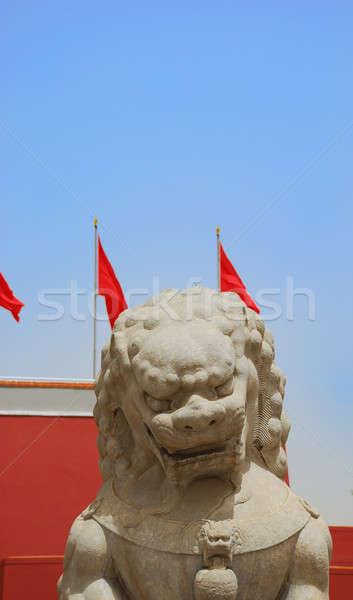 Kő oroszlán tiltott város bejárat fal piros Stock fotó © anbuch