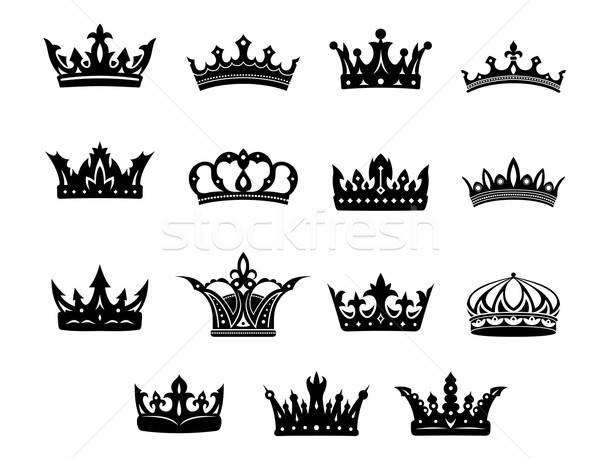 Black and white royal crowns set Stock photo © anbuch