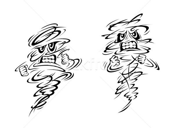 Angry tornado and hurricane characters Stock photo © anbuch