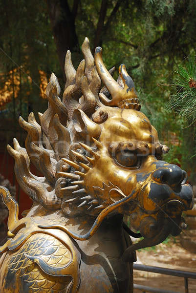 Bronze lion cité interdite jardin entrée empereur Photo stock © anbuch
