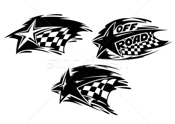Racing sterren vlaggen sport achtergrond Stockfoto © anbuch