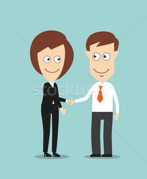 деловой женщины бизнесмен рукопожатием улыбаясь Сток-фото © anbuch