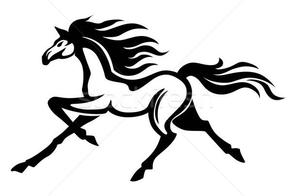 Running stallion Stock photo © anbuch