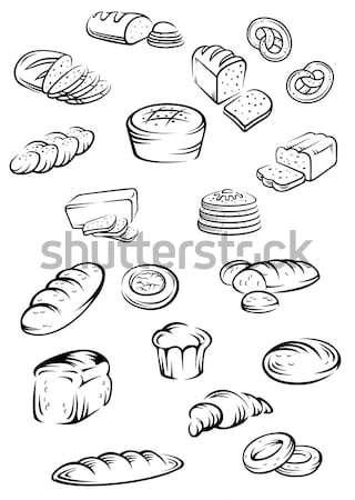 Padaria elementos conjunto comida projeto bolo Foto stock © anbuch
