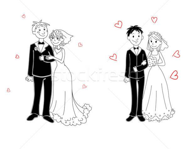 Rabisco casal cerimônia de casamento noiva noivo sorrir Foto stock © anbuch