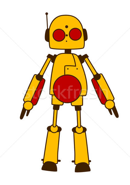Toy robot or alien in bright yellow Stock photo © anbuch