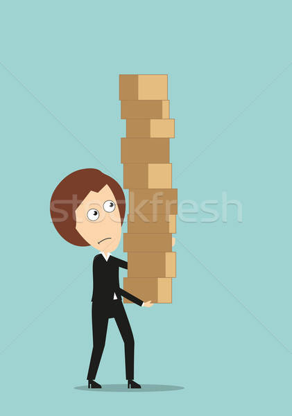 Mujer de negocios gigante cajas Foto stock © anbuch