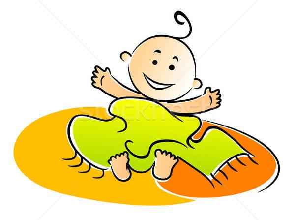 Küçük bebek yaramaz havlu Stok fotoğraf © anbuch