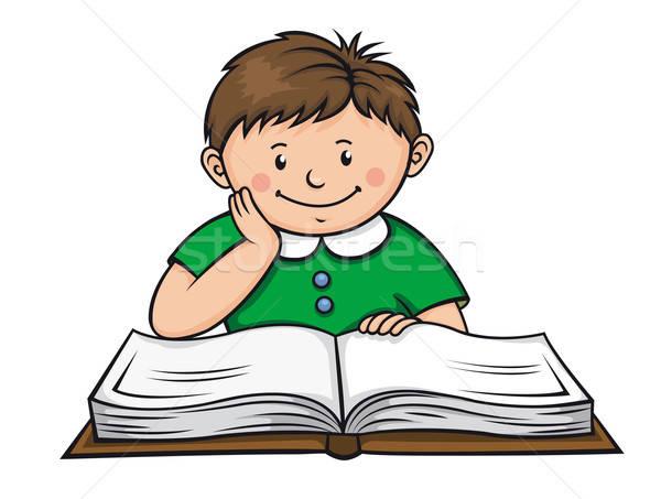 мальчика чтение книга библиотека девушки улыбка Сток-фото © anbuch