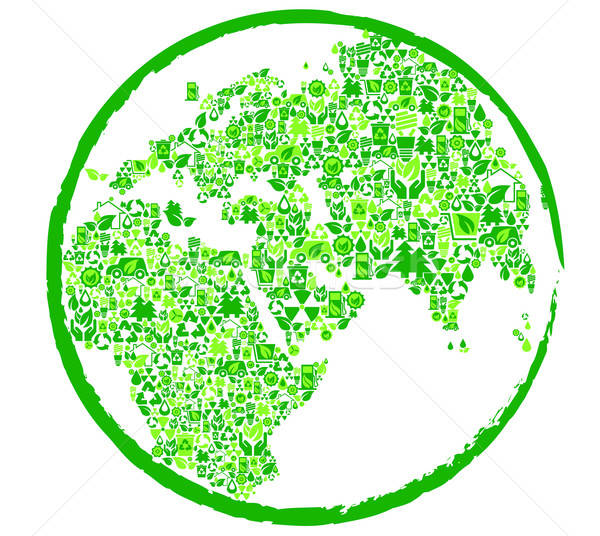 Green earth with ecological elements Stock photo © anbuch