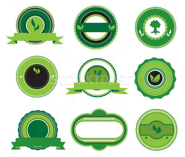 Ingesteld groene retro achtergrond recycleren Stockfoto © anbuch
