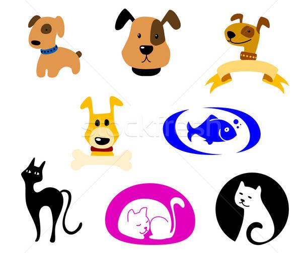 Animais de estimação ícones símbolos conjunto cão projeto Foto stock © anbuch