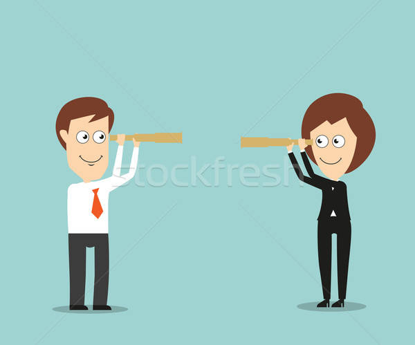 Businessman and business woman with spy glasses Stock photo © anbuch