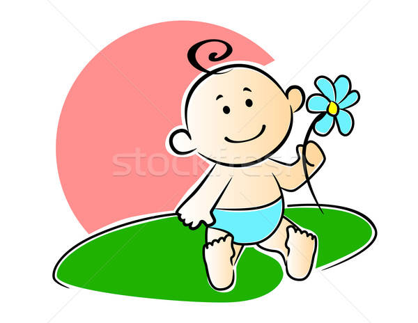 Happy adorable infant playing with a flower Stock photo © anbuch