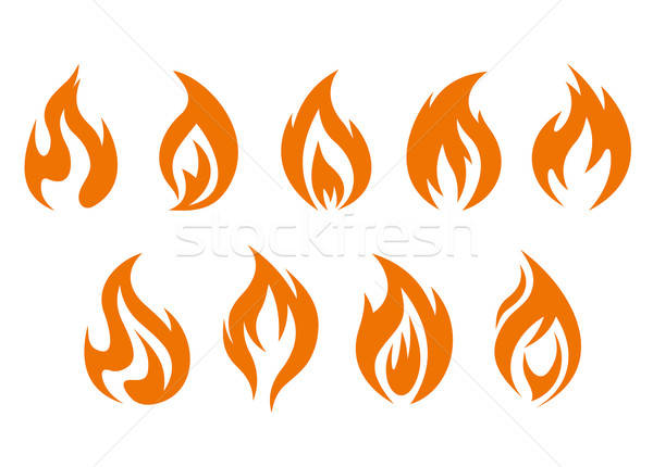 Brand vlammen symbolen geïsoleerd witte ontwerp Stockfoto © anbuch