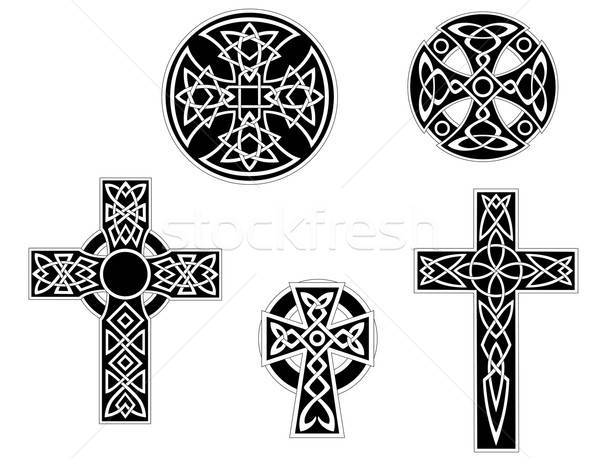 Set of vintage celtic crosses Stock photo © anbuch