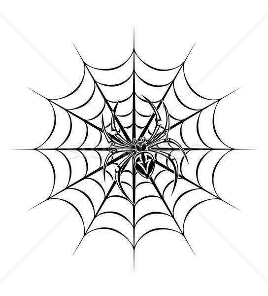 Spin tattoo spinnenweb dood silhouet patroon Stockfoto © anbuch