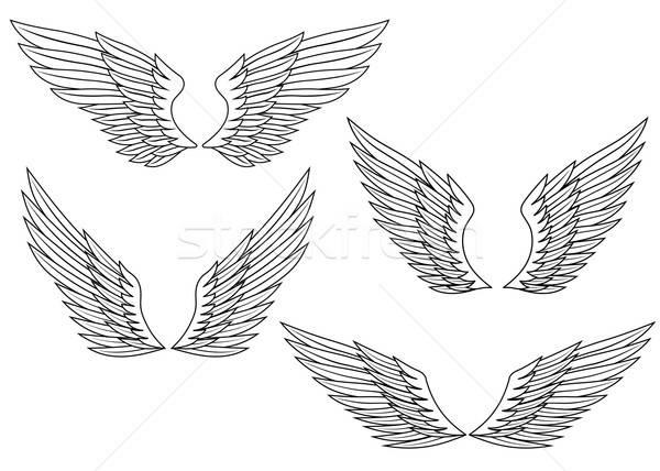 Vleugels ingesteld heraldiek ontwerp abstract vogel Stockfoto © anbuch