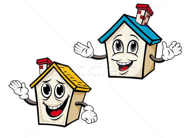 Stockfoto: Cartoon · huizen · twee · onroerend · ontwerp · hand
