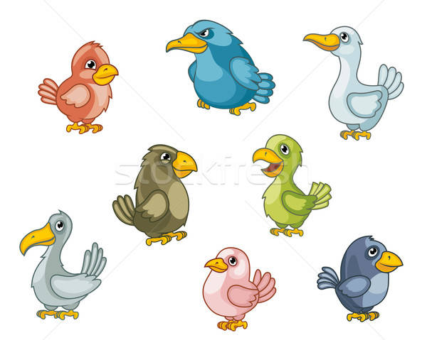 Funny cartoon birds Stock photo © anbuch