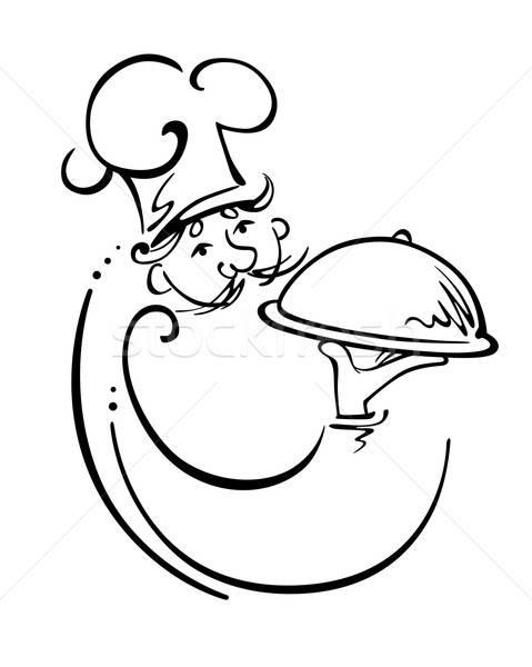 Feliz garçom bandeja restaurante sorrir jantar Foto stock © anbuch