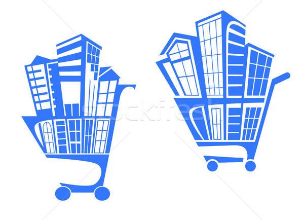 Winkelwagen gebouwen onroerend business bouw abstract Stockfoto © anbuch