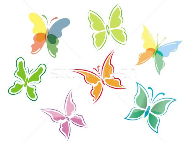 Vlinder symbolen iconen voorjaar ontwerp Stockfoto © anbuch